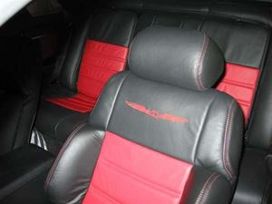 Picture of Tbird/Cougar Supreme Leather Seat Reupholstery Kit - Front/Back, One or TWO Colors with 2 Logos